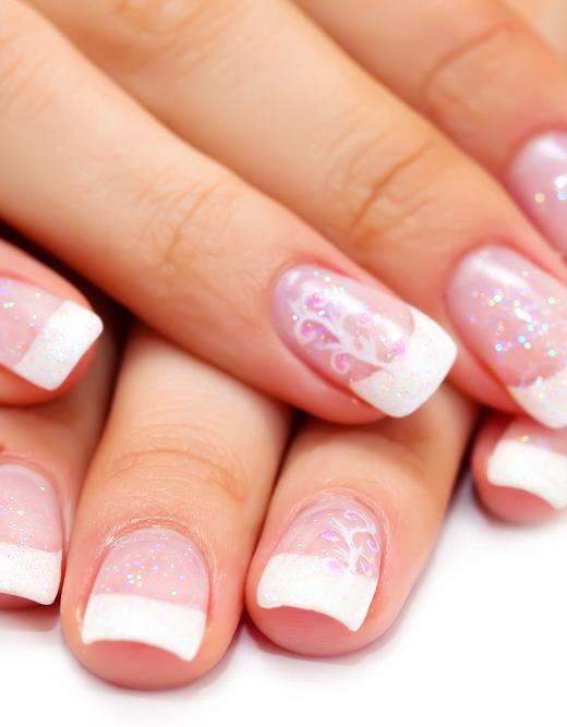 1 Nails   Solar Pink & White Nails Full Set